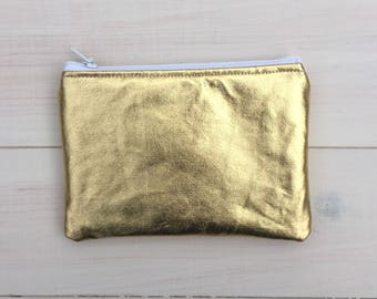 Gold Lamé Coin Purse, Gold Purse, Lamé Purse, Glamorous Evening Purse