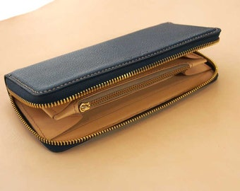 Leather Wallet Pattern (PDF Files): Long Zipper Wallet (with how to guide)