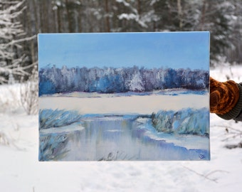 Original oil painting on canvas, Winter snow landscape painting, Winter painting, Original landscape painting, Landscape oil painting