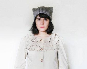 Cat Ear Knit Hat Beanie - Cat Ears Hat -  Cat Hat - Winter Animal Beanie in Grey - Kitten Beanie with Ears  The Orion Hat  