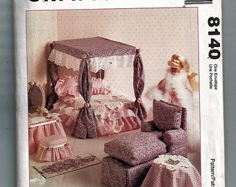 Fashion Doll Bedroom & Living Room UnCut Sewing Pattern McCall's 8140