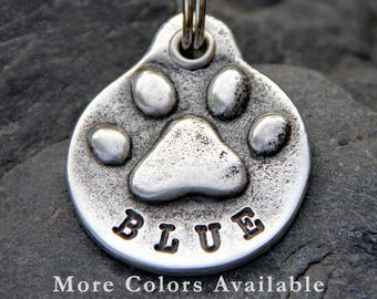 Dog Tag - Dog ID Tag - Pet Tag - Dog Name Tag - Pet ID Tag - Personalized Dog Tag for Collar - Pet Accessory - Dog Paw Print