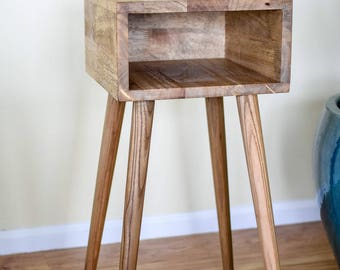 Mid-Century Inspired Bedside Table, MCM Nightstand, Midcentury End Table in Special Walnut