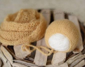 Simply Newborn Bonnet and Pure Naturals Newborn Stretch Knit Wrap in Dreamy Sunshine Golden Yellow
