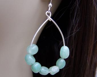 Green Aventurine Earrings. Pebble Earrings. Green Teardrop Earrings. Green Quartz Earrings