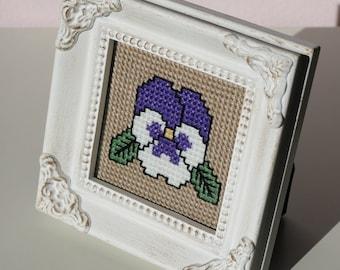 Framed Cross Stitch Pansy Flower