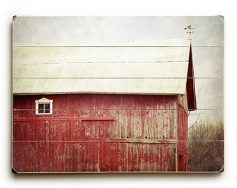 Wood Sign, Rustic Barn Art, Wood Plank Art, Red Barn on Wood, Ready to Hang Art, Rustic Red Barn photograph, Wood Plank Sign, Country Decor