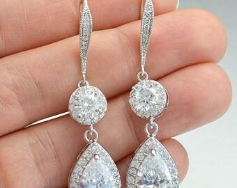 Bridal Cubic Zirconia Crystal Earrings, Silver Tone, Rose Gold Tone, Teardrop, Ear wires, Megan Earrings - Will Ship in 1-3 Business Days