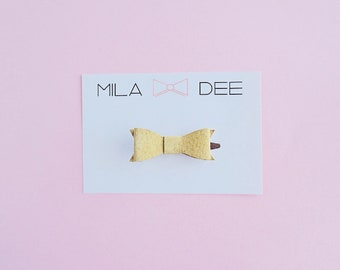 MINI Mustard Yellow Suede bow on a alligator hair clip • mini bow • leather bow • baby bow • baby hair clip • green bow • alligator clip