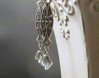 Art Deco Earrings - Art Deco Jewelry - 1920s Wedding Jewelry - Downton Abbey Style Jewelry - Great Gatsby Wedding - Jewelry for Bride
