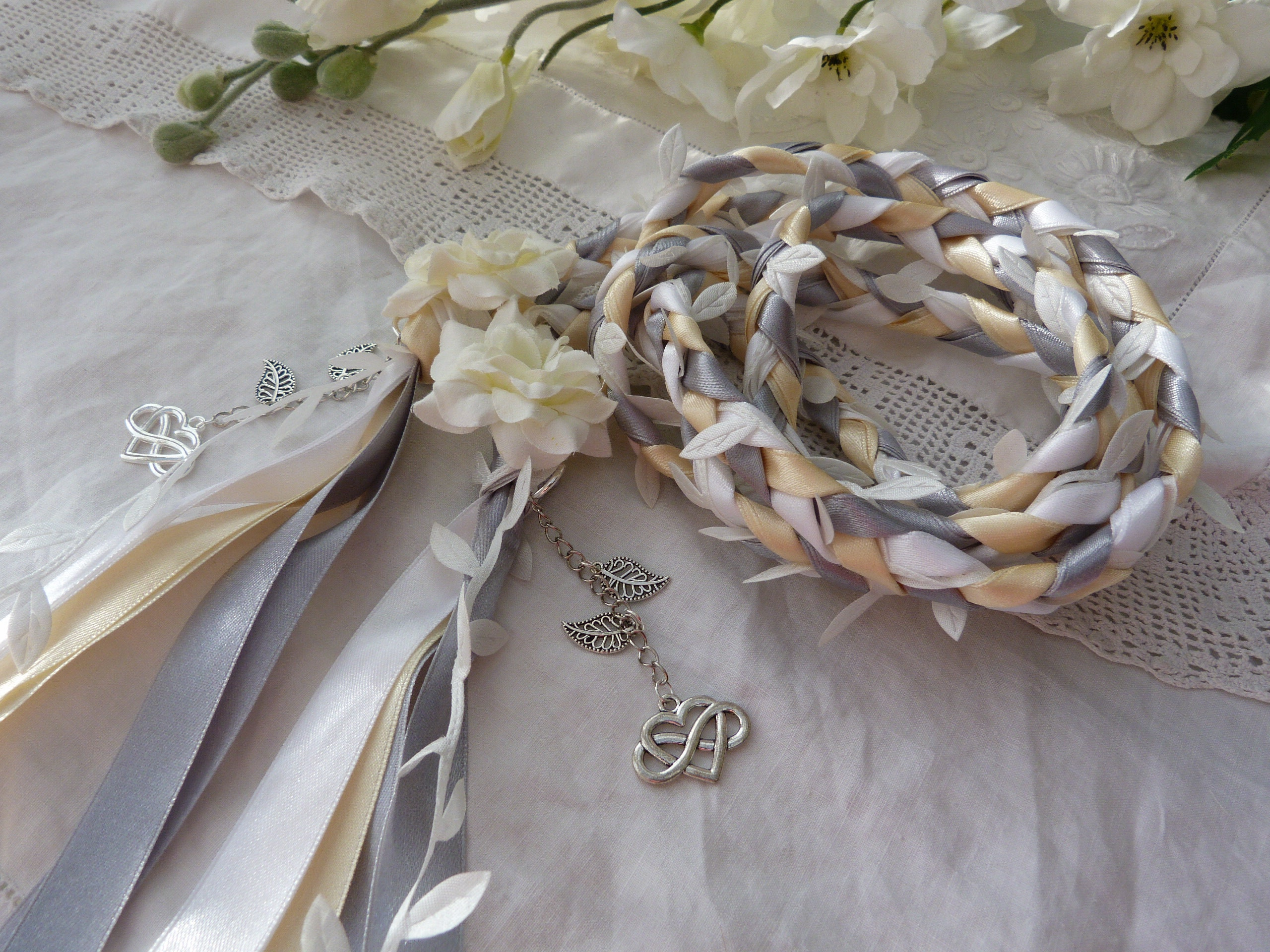 Ivory, silver, white hand fasting wedding cord with white leaves and hand stitched flowers silvertone charms infinity hearts
