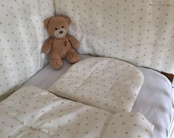 Crib bumper, Beige Crib bedding, Baby bumper, Baby bedding, Reversable bumper, Reversable bedding