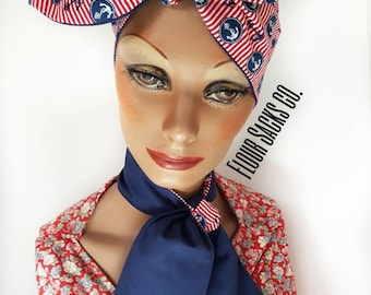 Vintage inspired Anchors on Red Stripe/Blue Head Scarf - Neck Scarf - Vintage - Rockabilly - Pin Up - fun Headband - 1950's Self Tie Bow