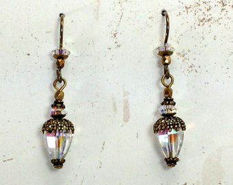 Victorian Beveled Glass Earrings with Vintage Beads and Niobium Earwires