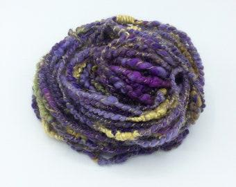 """Handspun Art Yarn, """"Purple Pansy"""", 27 yards, corespun textured novelty yarn, bulky yarn, weaving yarn"""