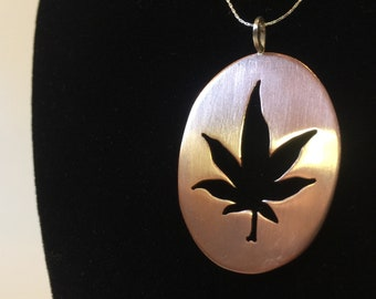 Copper Cannabis Leaf Necklace - Reiki Infused Handmade Pendant
