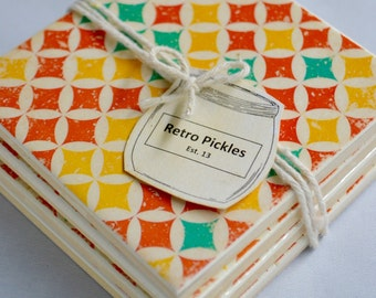 Ceramic Tile Coasters - Retro Style 023