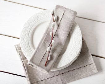 Easter linen napkin cloths - Hemstitch napkins - Grey napkins -  Rustic wedding napkins - linen napkins - Wedding gift - Housewarming gift