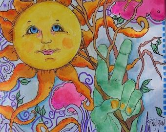 Peace Garden, Hippie Art, Singleton Hippie Art, Sunshine Art, Garden Art, Peace sign art, peace sign,  Hippie Garden, Canvas art, Spring art