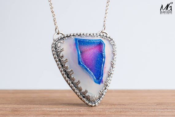 Colorful Purple Pink and Blue Druzy Agate Gemstone Necklace in Sterling Silver