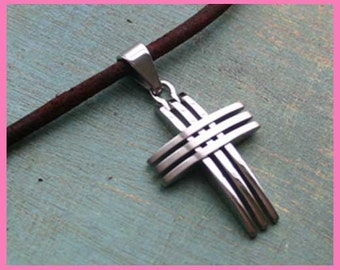 Leather Surfer Necklace With Stainless Steel Cross Distressed Cord