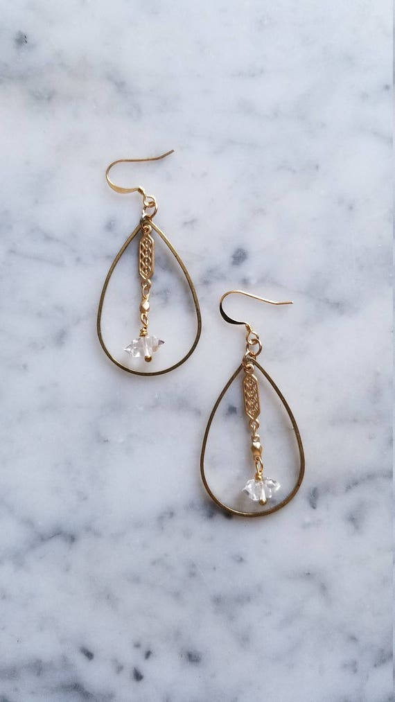 Herkimer diamond accented smaller brass teardrops with art deco chain