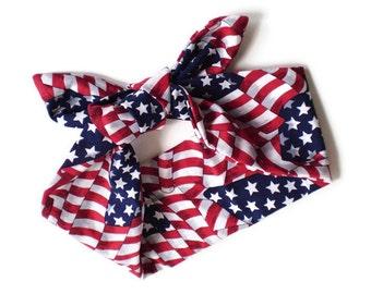 USA Flag Head Scarf, 4th of July Head Wrap, Patriotic Head Scarf, Red White Blue Head Scarf, American Flag Head Scarf