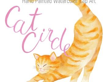 Cat Clip Art / Hand Painted Watercolor Clipart
