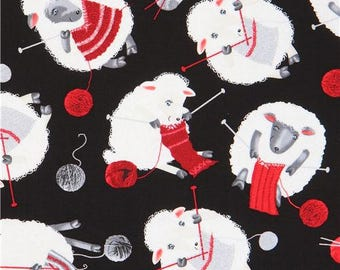 214116 black with sheep knitting needle yarn fabric by Timeless Treasures