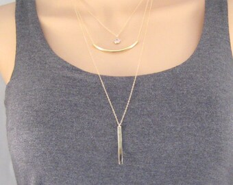 Layered necklace set, gift for her, simple gold necklace, dainty necklace, long necklace, minimalist jewelry, bar necklace, gift for mom