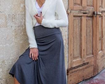 Grey Skirt, Maxi Skirt, High Waisted Maxi Skirt, A Line Skirt, Handmade Clothing, Boho Chic Clothing, Maternity Skirt, High Waisted Skirt