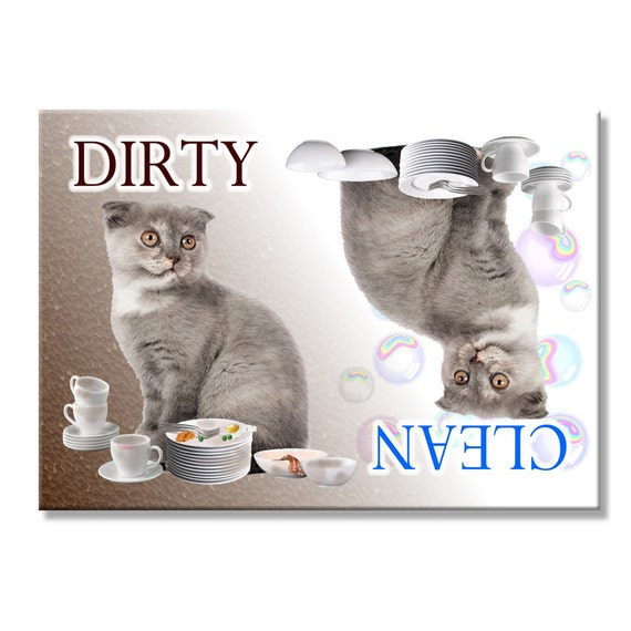 Scottish Fold Cat Clean Dirty Dishwasher Magnet No 2