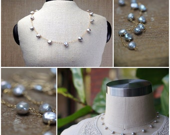 Silver Gray Pearl Necklace - Delicate Metallic Silver Pearls Wire Wrapped into a Station Necklace with Gold Chain, Style Number 863