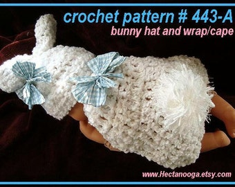 Baby Bunny Photo Prop - CROCHET PATTERN - Crochet Baby Wrap, PDF Instant Digital Download,  # 443-a
