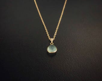16K Gold Plated Blue Chalcedony Teardrop Gemstone Necklace [5A]