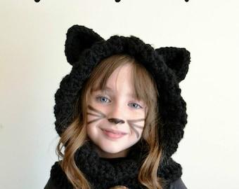 Black Cat Hat - Black Cat Hoodie - Black Cat Cowl - Animal Hat - Hooded Scarf - Crochet Hoodie - Chunky Crochet Hat
