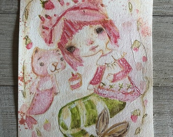 Strawberry shortcake mermaid - 6x9 original watercolor/mixed media