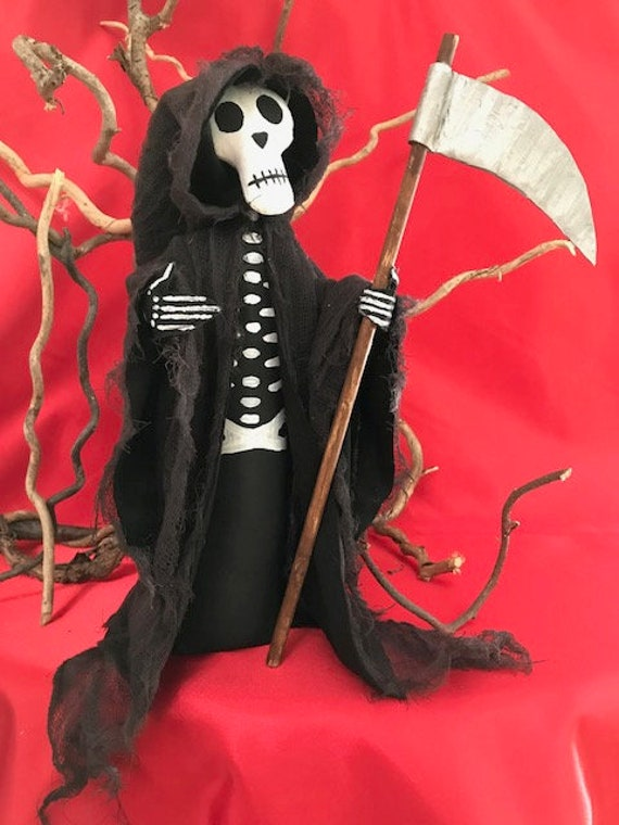 Halloween Ghoul Grim Reaper with Sickle Cloth Doll Mailed Pattern
