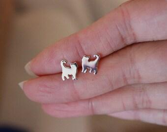 Cat Stud Earrings, Sterling silver Cat Earrings, Tiny Stud Earrings, Animal Stud Earrings, Kitty Earrings, Children Earrings, cat lover