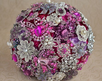 Brooch bouquet. Hot Pink, Purple and Silver wedding brooch bouquet, Jeweled Bouquet. Made upon request