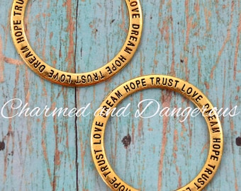 10 Gold Inspirational Open Circle charms (CM84)