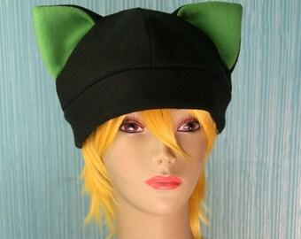 Fleece Cat Hat / BLACK + GREEN Inner Ears Beanie Style Cap Cute Anime Neko Cosplay Kitty Cat Ears Kawaii Fashion