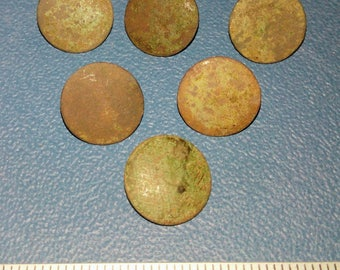 Set of six brass buttons of the 19th century