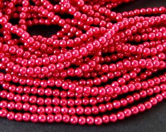 Dark Coral 3mm Glass Pearls, 60 Inch Strand