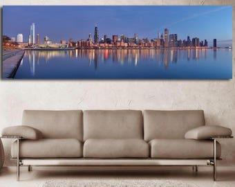 "Chicago morning sunrise skyline canvas 84"" long"