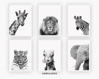 Nursery Print Set, Animal Prints, Set of 6 Prints Wall Art, Digital Download, Safari Nursery, PRINTABLE Art, Safari Animals, Nursery Decor