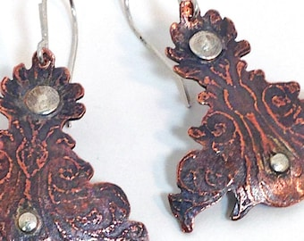 Graceful etched copper and sterling earrings