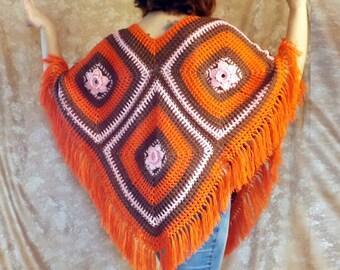 ponchos,  knit ponchos, ponchos crocheted, orange ponchos, ponchos cotton, ponchos for the summer, handmade