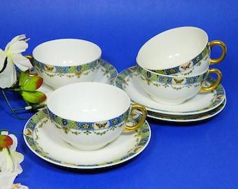 Four Union Ceramique Limoges Teacups and Saucers Butterflies