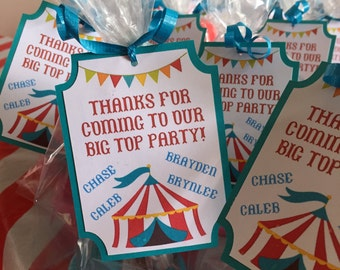 Carnival Favor Tags / Circus Party Favor Tags / Carnival Birthday Favor Tags / Circus Birthday Party Favor Tags - Set of 12